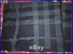 100% Authentic BURBERRY Check Plaid Soft Wool Blanket Scarf 21x80 Navy Blue. New