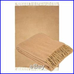 100% Merino Wool Blanket Throw Sofa Bed Cover Natural Beige Brown Camel Gifts