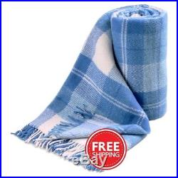 100% New Zealand WOOL BLUE color Plaid Blanket QUEEN 200x220cm / FREE SHIPPING
