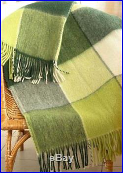 100% New Zealand WOOL GREEN color Plaid Blanket TWIN 140x200cm / FREE SHIPPING