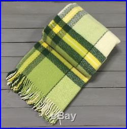 100% New Zealand WOOL Green color Plaid Blanket FULL 170x210cm / FREE SHIPPING
