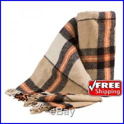 100% New Zealand WOOL Plaid Blanket QUEEN 200x220cm / FREE SHIPPING