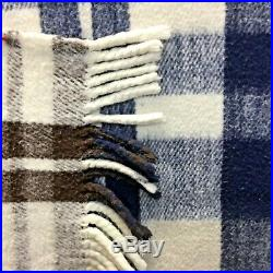 100% WoolMade in MexicoReversible BlanketMexicanBlueBrown PlaidSuper Heavy