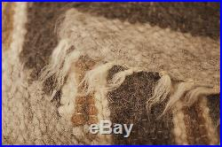 100 Wool Blanket Hand Woven Large Thick Sofa Throw Brown Grey Plaid Bed Cover