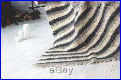 100 Wool Blanket Throw Bed Sofa Cover Plaid Natural Queen Size Handmade Gray