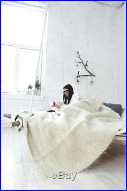 100% Wool Blanket White Queen Size Throw Hand Woven Plaid Bed Cover Cozy Throw