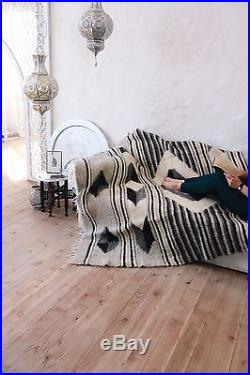 100% Wool Sofa Throw Geometric Plaid Handmade Bed Cover Queen Size Bed Blanket
