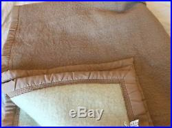 100% alpine wool Camel Cream blanket France Very Heavy Weight 66 X 94 French