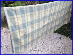 100% vintage alpine wool plaid blanket France Med Heavy Weight 82 X 94 Great