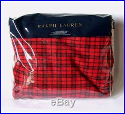 $1300 Ralph Lauren King Wool Blanket Throw Red Plaid Holiday Bed Cover Bedspread