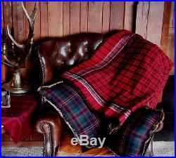 $1300 Ralph Lauren King Wool Blanket Throw Red Plaid Holiday Bed Cover Tartan