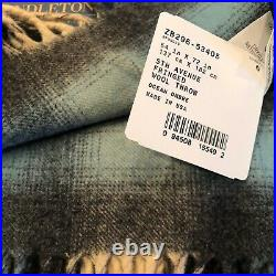 $199 Pendleton Wool Blanket 5th Ave Fringed Throw 54x72 Ocean Ombre Blue Plaid