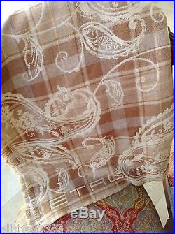 $700 Etro Milano Italy Throw Blanket Wool Paisley Plaid Brown Made in Italy New