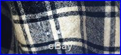 7219 Antique early 19th century hand woven Wool blanket, black & white plaid