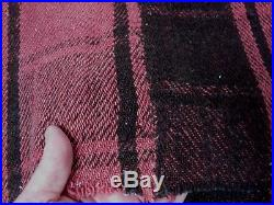 ANTIQUE HOME SPUN 100% WOOL RED BROWN PLAID BLANKET w H/STITCHED CENTER SEAM