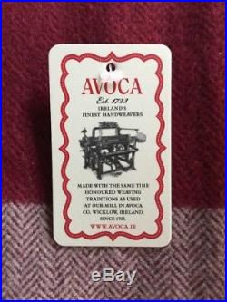AVOCA Cashmere Wool Throw Blanket Plaid Red Pink Multi Made In Ireland