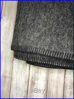 Alicia Adams Alpaca Wool Blend Field Blanket Gray Black Plaid Throw $450