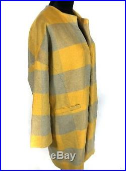 Anonyme designers womens plaid open front long coat wool blend sz large blanket