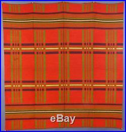 Antique, Heavy, Wool, Plaid, Blanket, Possibly A Horse Blanket, Great Color