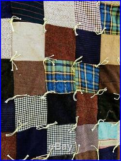 Antique Quilt Heavy Wool Quilt Squares Plaid Indian Wool Blanket
