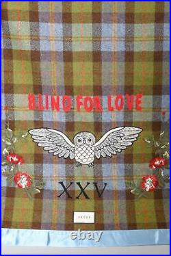 Authentic Gucci Blind For Love XXV Embroidered Plaid Blanket