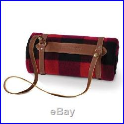 Authentic Pendleton Motor-Robe Blanket with Leather Carrier Rob Roy Plaid