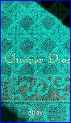 Authentic Rare Christian Dior Cannage Wool Blanket Throw Plaid