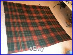 BEAUTIFUL PLAID EARLY 1900s VINTAGE WOOL HORSE BLANKET withLeather STRAP 84x87
