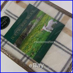 BERKSHIRE SoftWorks KING BED BLANKET Washable WOOL PLAID Gray Tan Cream NEW