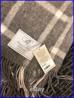 BRONTE by Moon 100% Pure New Wool Windowpane Grey Throw Blanket, New with Tags