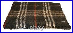 BURBERRY London Blanket Throw Mohair Wool Plaid Check Fringe Decor Bed 70x62