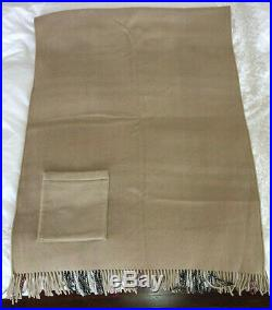 BURBERRY Merino Wool Cashmere Blanket Cape Beige Check Pattern Reversible 28x72