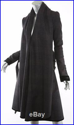 BURBERRY PRORSUM Womens Plaid Wool+Cashmere Long Blanket Front Jacket Coat S NEW