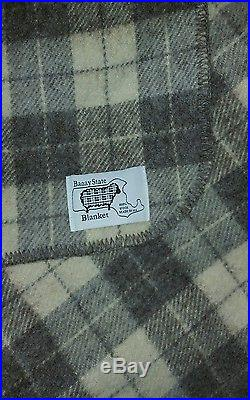 Baaay State Wool Blanket KING 106 X 90 Gray & White MINT Bedding LOVELY