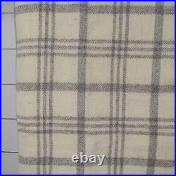 Baaay State Wool Blanket QUEEN Ivory Gray Plaid Made in Massachusetts 90 x 90