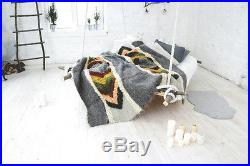 Bed Blanket Queen Size Cover Pure Wool Sofa Throw Hand Woven Plaid Modern Decor