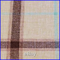 Belle Maison Plaid Tartan Check Cream Eyelet Curtains Thick Wool Type Fabric