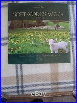 Berkshire Softworks King Italian Wool Blanket Washeble Gray Ivory Plaid NEW