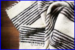 Black and white stripes Carpathian Crafts Blanket from wool Warm Plaid Cape