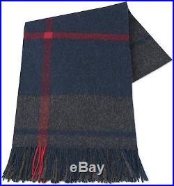 Blue Grey plaid Throw Blanket Bedspread Alpaca and Wool, for Sofa Couch Bed