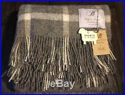 Bronte by Moon Natural Wool Collection Blanket Throw Gray W Pane Plaid England