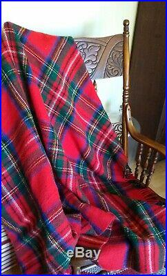 Brooks Brothers Made In Scotland Wool Plaid Throw Blanket, Red, Blue, Green