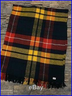 Brooks Brothers Made In Scotland Wool Plaid Throw Blanket Red Blue Yellow 55x68