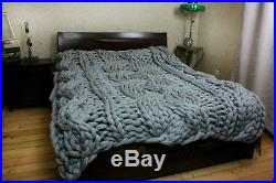 Cable knit blanket, Chunky knit blanket, Wool blanket