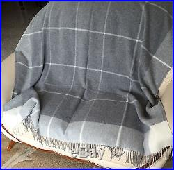 Cashmere Plaid Grey Checked, Wool Blanket Cover, Sofa Throw, 140x200 cm