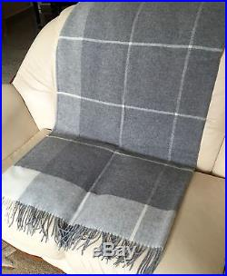 Cashmere Plaid grey checked, Wool blanket cashmere cover, Sofa throw, 140x200 cm
