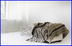 Chunky Wool Yarn Bed Throw Blanket Hand Woven 100% Pure Wool Plaid Sofa / Bed