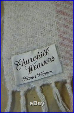 Churchill Weavers Hand Woven Throw Blanket Nubby Ivory pink Lamb Wool 68x52 Exc