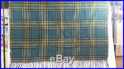 Classic Pendleton Green & Gold Plaid Wool Throw Blanket with Fringe 72 x 50 USA