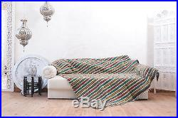 Colorful Throw Pure Wool Blanket Handmade Plaid Sofa Throw Bed Cover Hand Woven